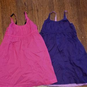 2 Reversible Sundresses Pink/Navy Lilac/Purple 3T